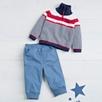 Stripe Half Zip Sweater