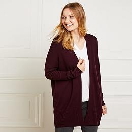 Side Zip Cardigan with Wool - Dark Mulberry