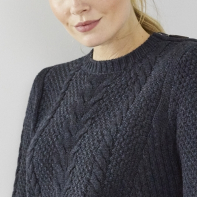 Zip Shoulder Cable Sweater - Dark Charcoal Marl