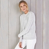Zip Shoulder Cable Sweater - Pale Gray Marl