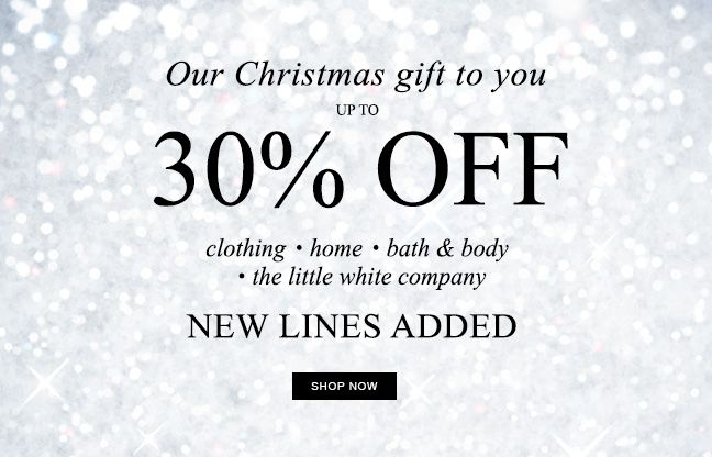 Our Christmas gift to you: up to 30% off