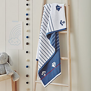 Anchor & Stripe Baby Blanket