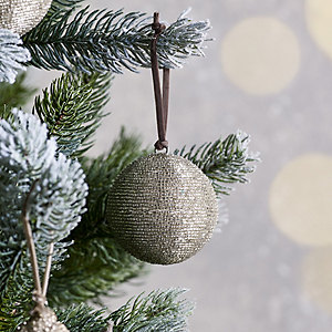 Beaded Silver Christmas Bauble