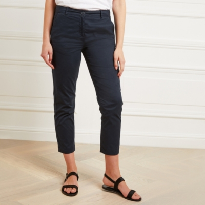 Cropped Chinos - Navy