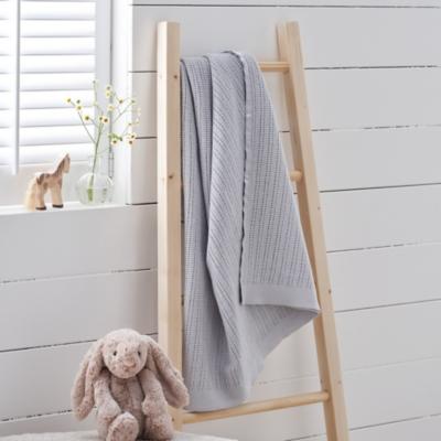 Satin Edged Cellular Baby Blanket - Grey