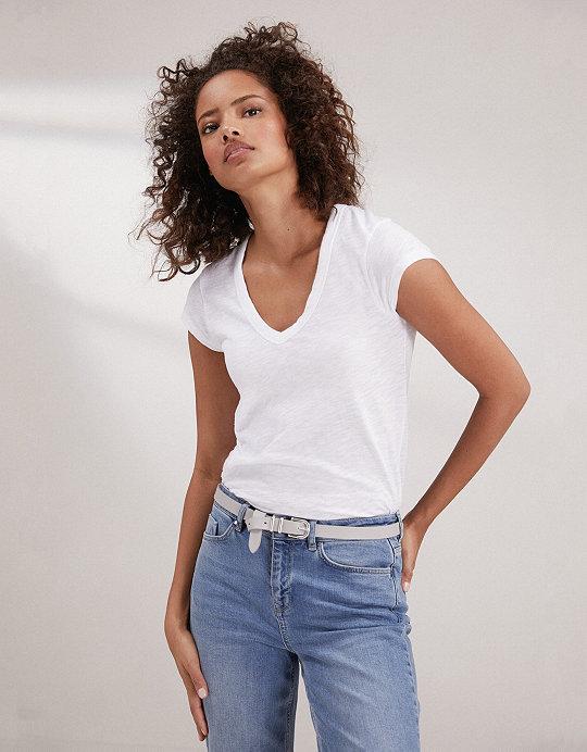 Cotton V-Neck T-Shirt  2643eaa73