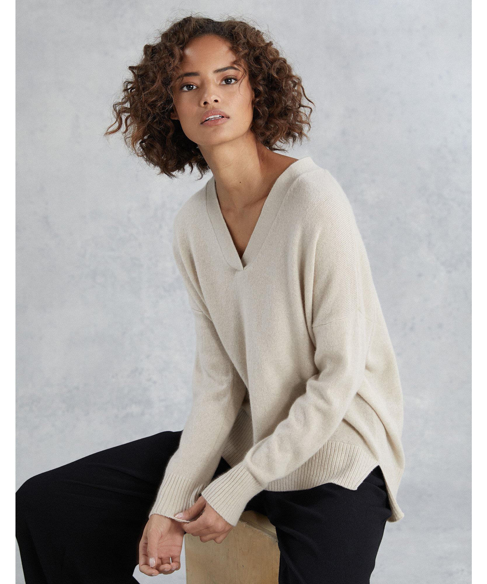 Cashmere Oversized V Neck Sweater
