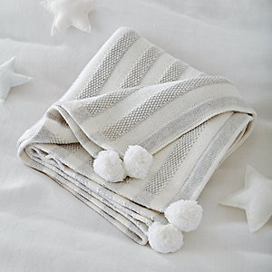 Cotton-Cashmere Striped Blanket