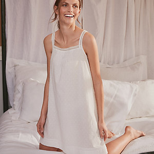 Cotton Dobby Lace-Strap Nightgown