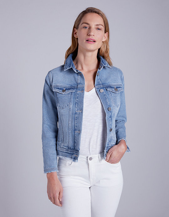 a95482b0a68e Cotton Frayed Denim Jacket | Coats & Jackets | The White Company UK