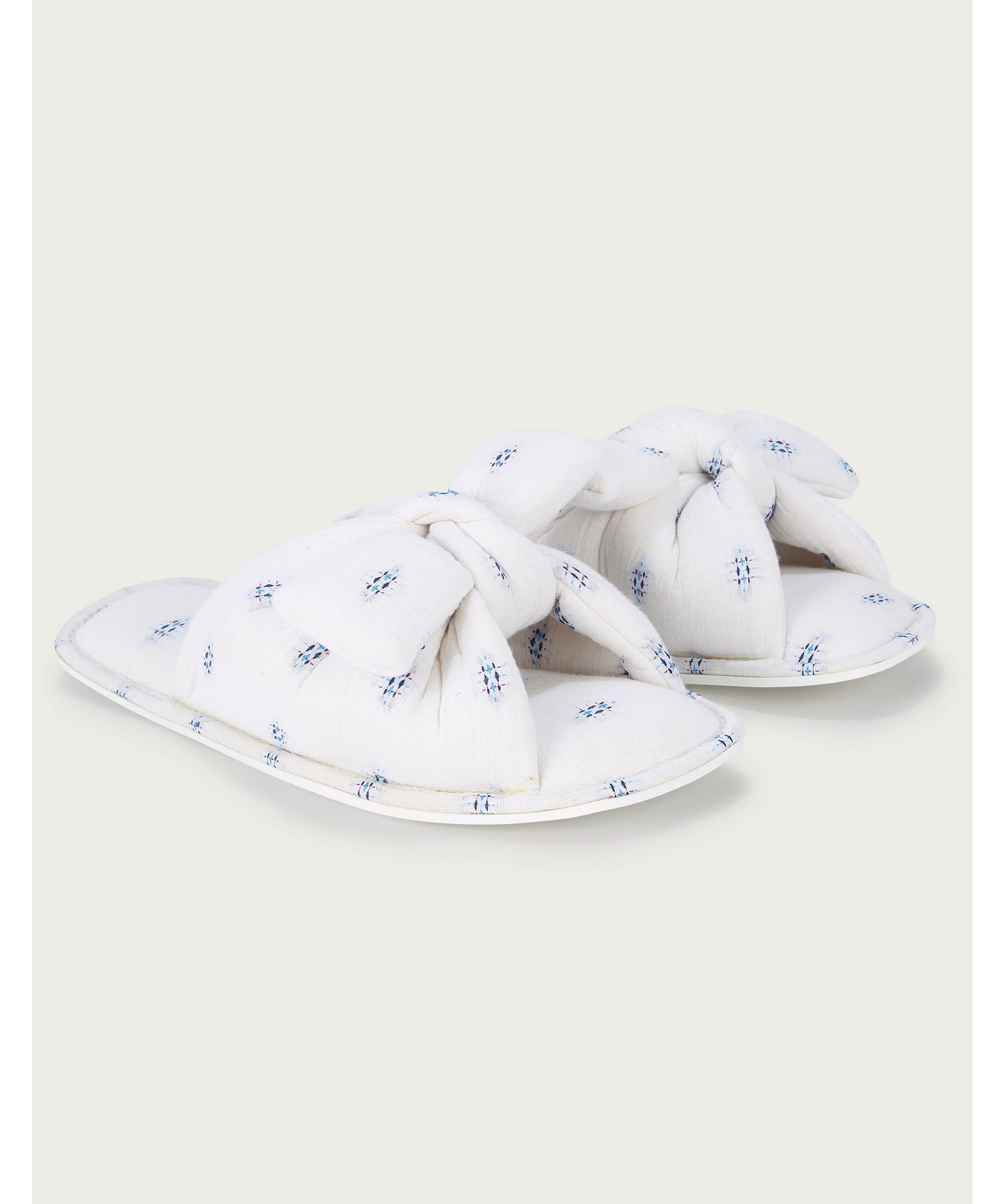 Cotton Jacquard Knot Slippers