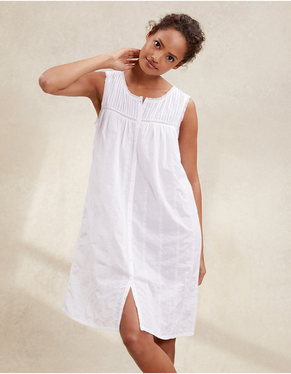 37c2809f13 Cotton Pintuck Embroidered Nightie | Nightdresses | The White Company UK