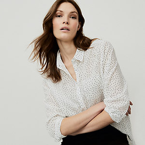 Cotton Voile Spot-Print Shirt
