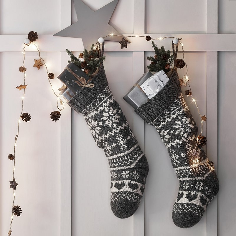 Gray Christmas Stockings.Fair Isle Christmas Stocking