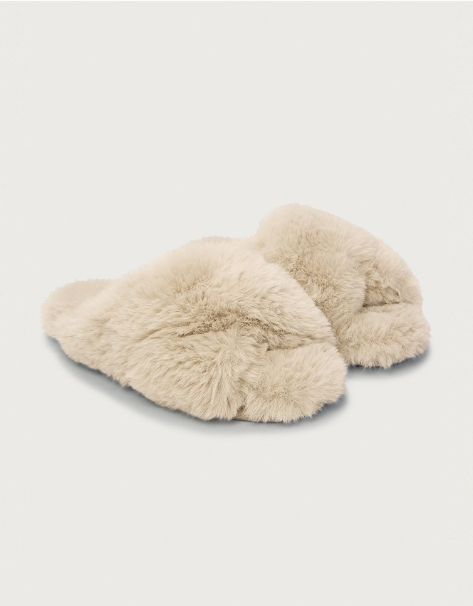 Faux-Fur Cross Slider Slippers