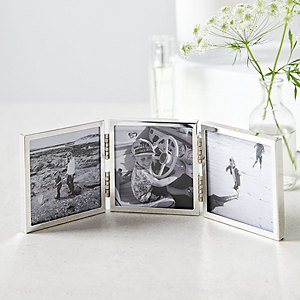 Fine Silver Triple Aperture Hinged Photo Frame 3x3""