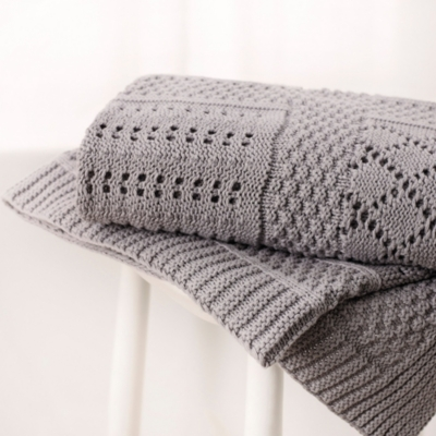 Knitted Patchwork Baby Blanket - Grey