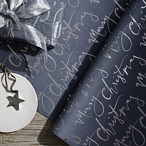 Gray Foil Merry Christmas Wrapping Paper - 5M