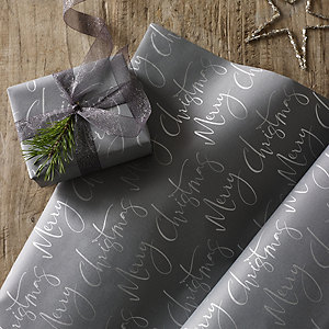 Gray Merry Christmas Wrapping Paper – 5m