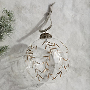 Hand-Etched Gold Glass Bauble