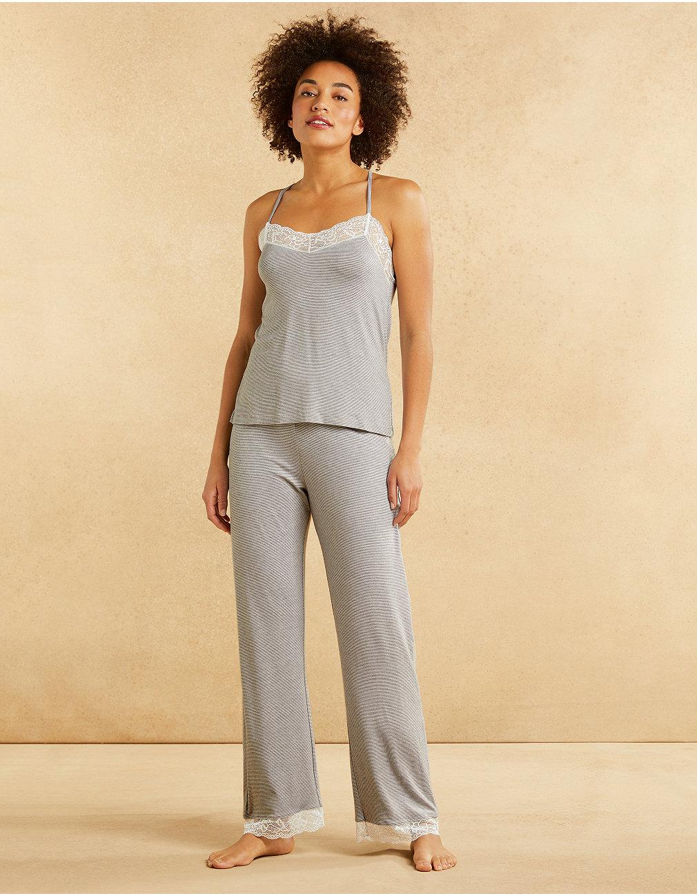 1aece45210 Jersey Stripe Lace Back Pajama Set