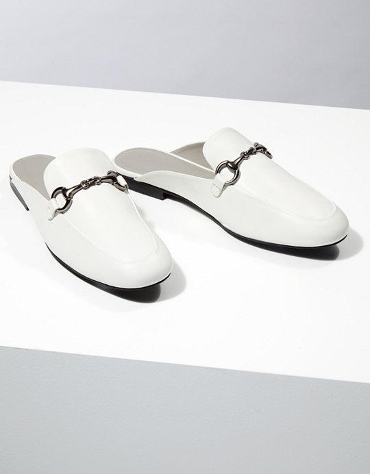 e45313ea5b24 Leather Backless Loafers