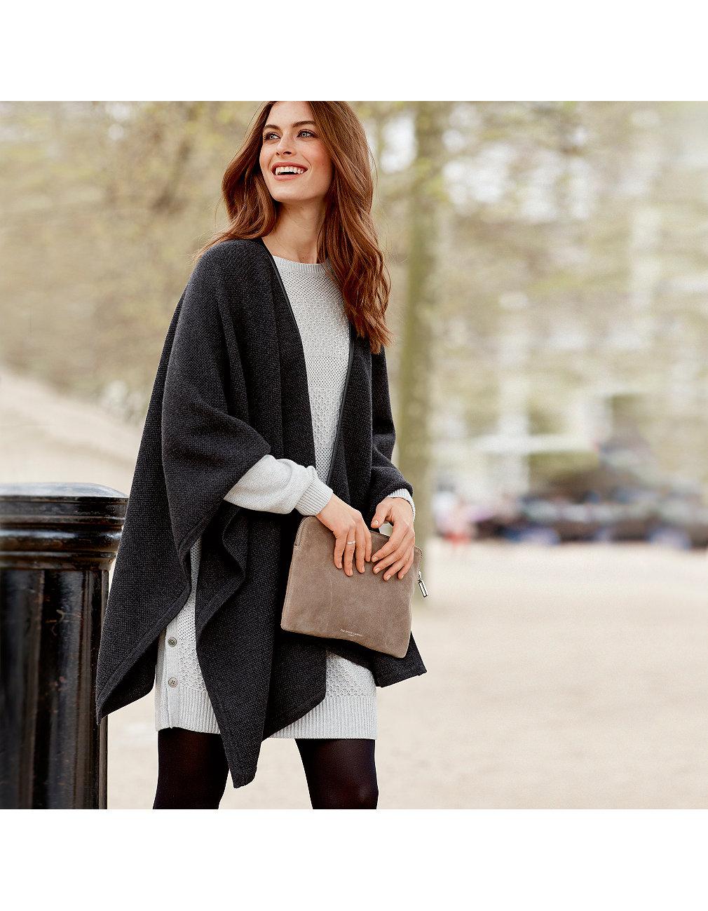 e6fcfc80a7 Leather Trim Wrap Cardigan | Clothing Sale | The White Company UK