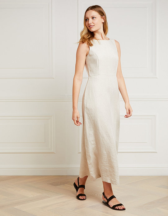 4f76c1aa78 Linen A-Line Fitted Maxi Dress | Clothing Sale | The White Company UK