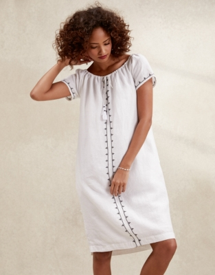 5609e804c97 Linen Embroidered Bardot Dress
