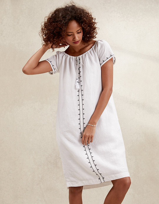 a0315940beadf5 Linen Embroidered Bardot Dress   Dresses & Jumpsuits   The White ...
