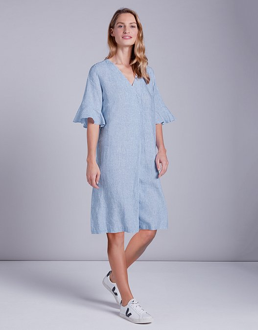 hot-selling newest great quality factory authentic Linen Frill Sleeve Dress