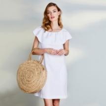 Linen Frill Trim Dress