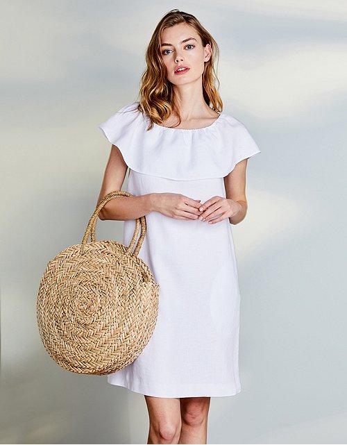 2b1278e5b9 Linen Frill Trim Dress