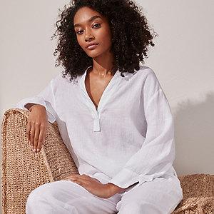 Linen Kimono-Sleeve Shirt