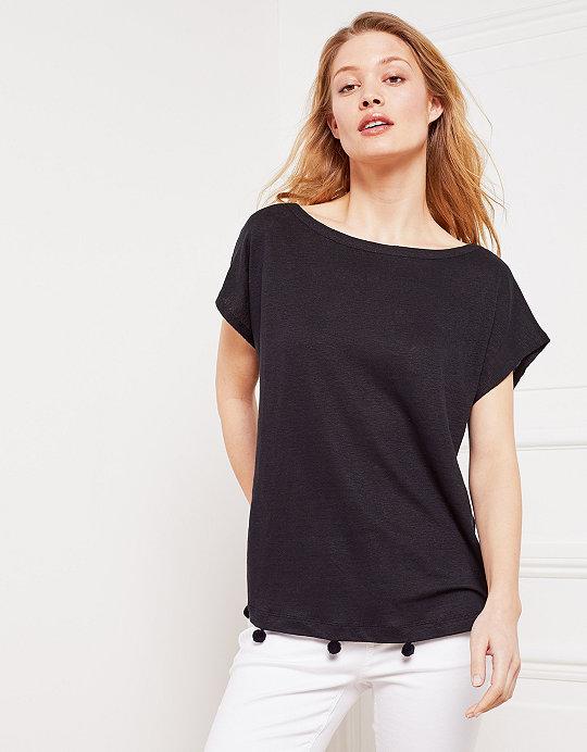 43d3bded989 Linen Pom-Pom Detail T-Shirt