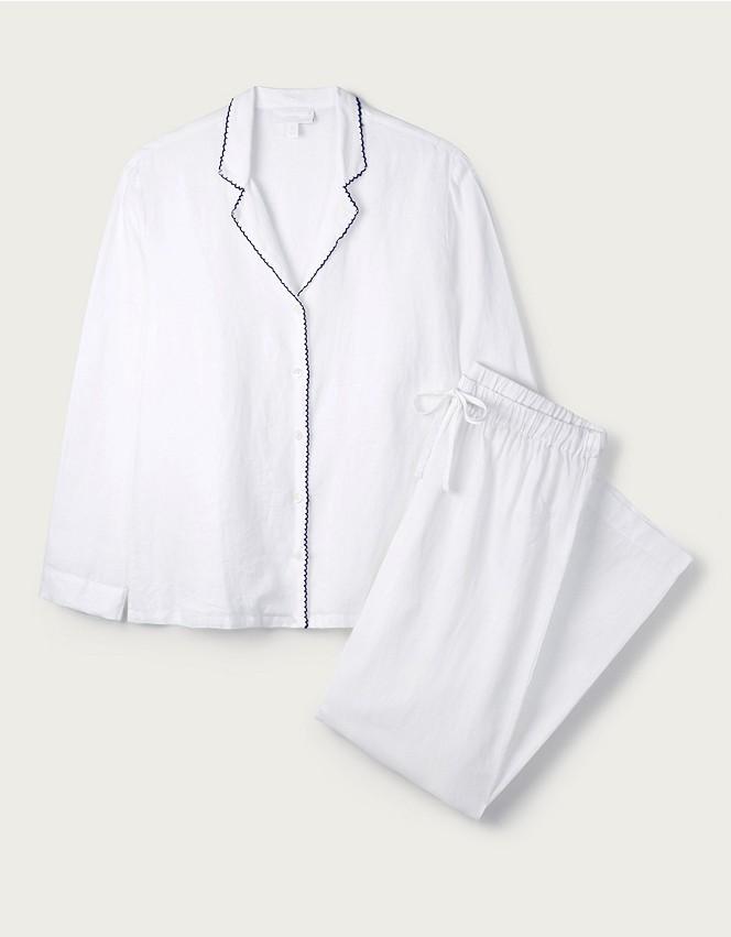Linen Stitch-Trim Pyjama Set
