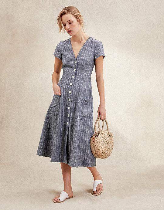 d227a5d94565 Linen Stripe Fit & Flare Dress | Dresses & Skirts | The White Company US