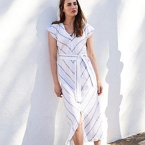 Linen Tie-Waist Chevron Dress