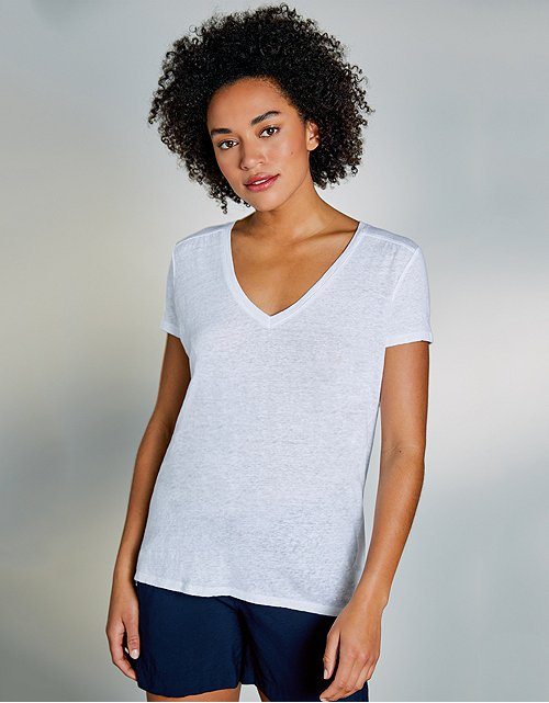 1bf8805ce68 Linen V-Neck Gathered T-Shirt