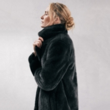 Long Faux-Fur Coat With Revere Collar