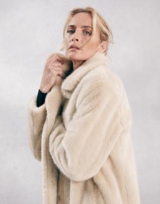 Long Faux Fur Coat With Revere Collar, Fur Coat White Company
