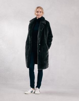 Long Faux Fur Coat With Revere Collar, Faux Fur Coat Company