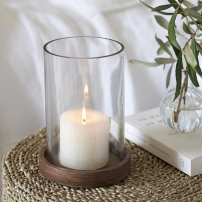 Mango Wood Medium Hurricane Candle, Hurricane Glass Candle Covers