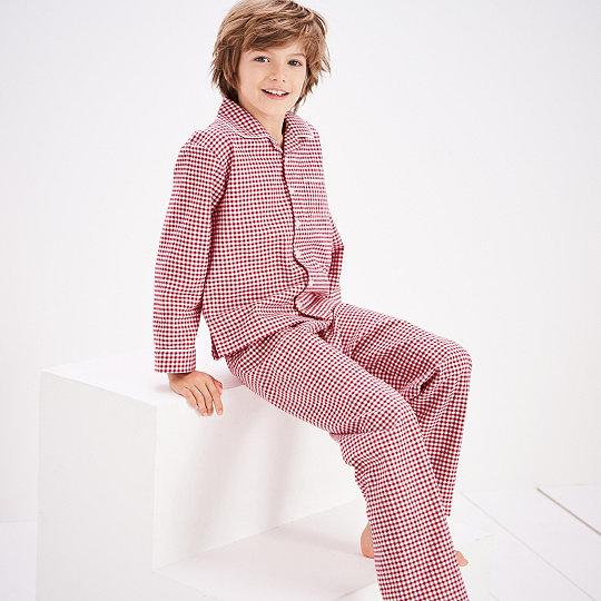 3370ca4e23b Mini Gingham Flannel Pyjamas (1-12yrs) | Boys' Nightwear | The White  Company UK
