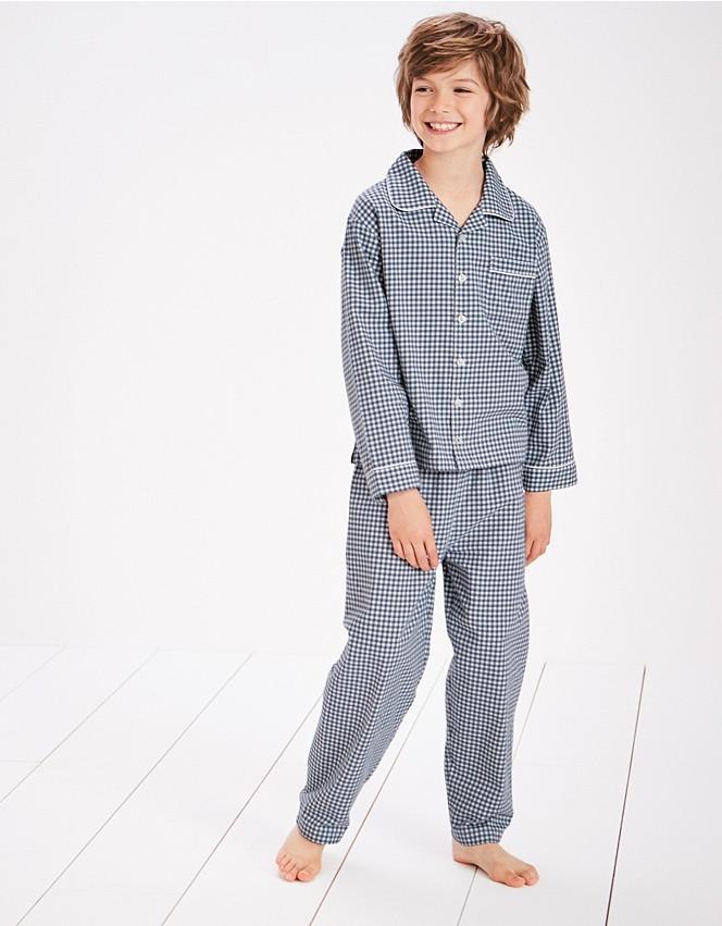 navy gingham flannel pyjamas
