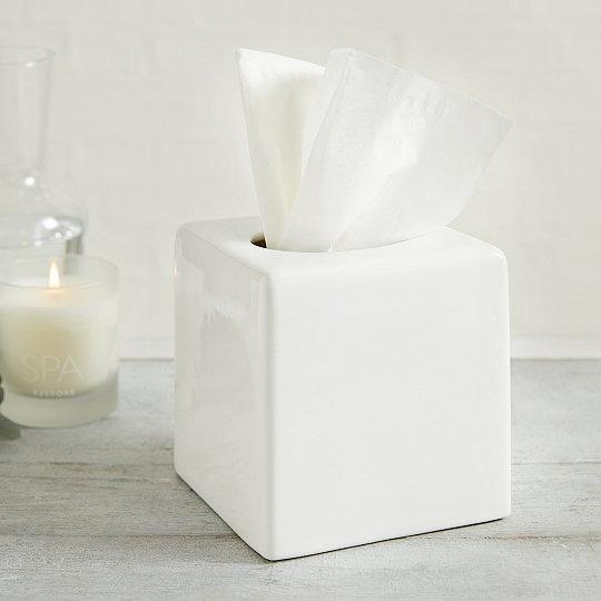 Newcombe Ceramic Tissue Box Cover Bathroom Accessories The White