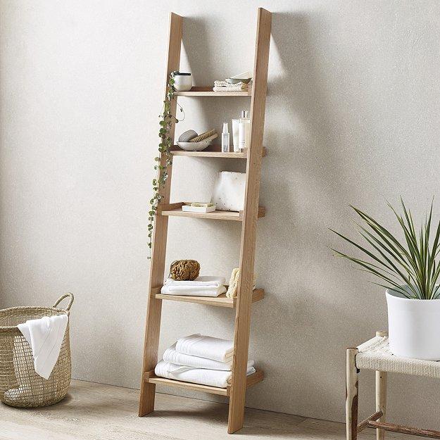 Oak Narrow Ladder Shelf Laundry Storage The White Company Uk