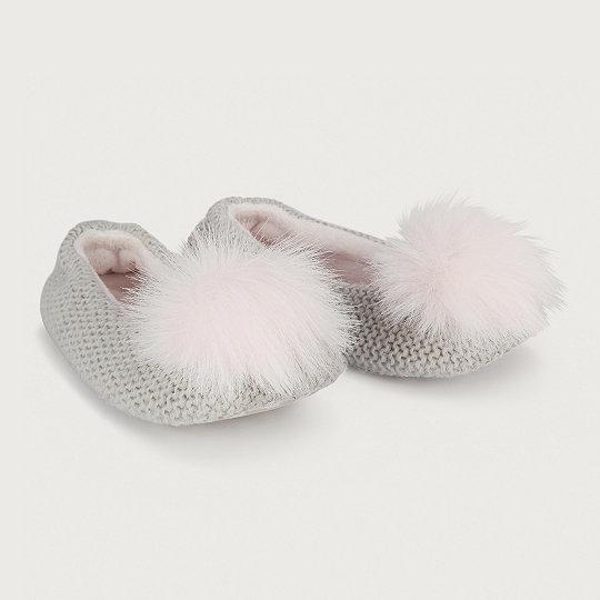 500188e4a70ac Pom-Pom Knit Ballerina Slippers