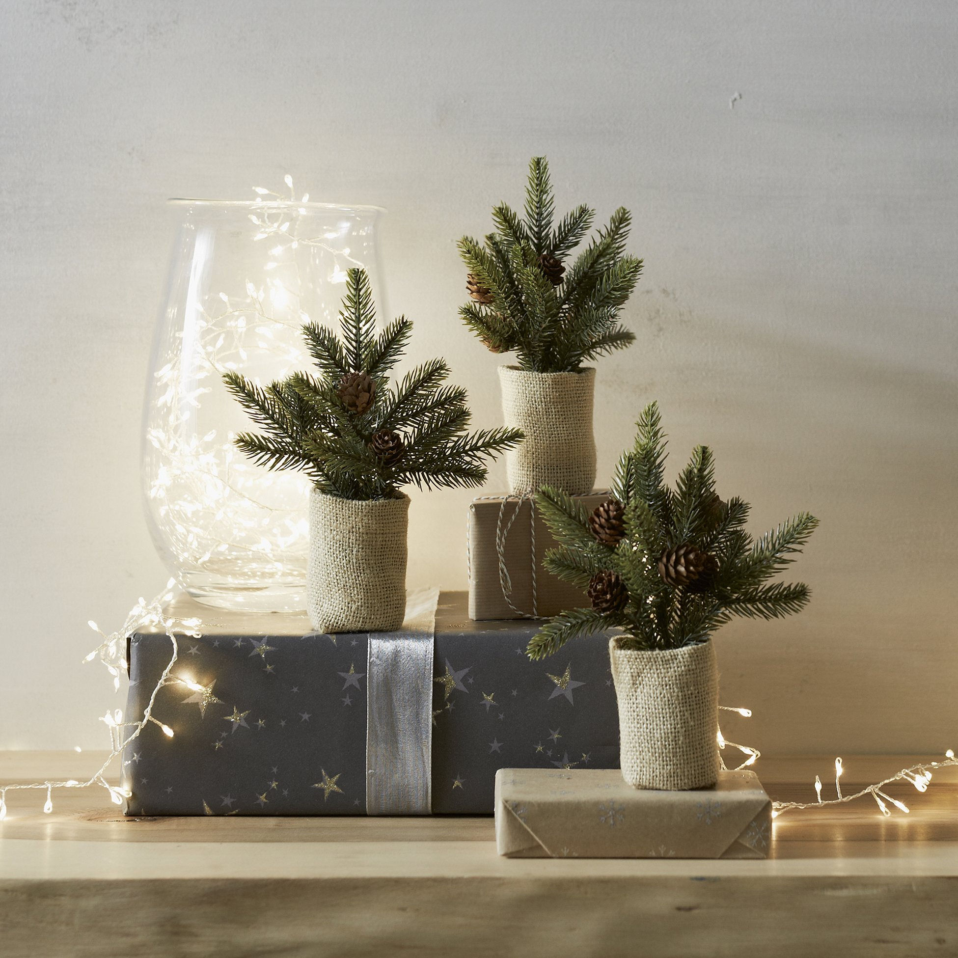 Set of 3 mini Christmas trees from The White Company London.