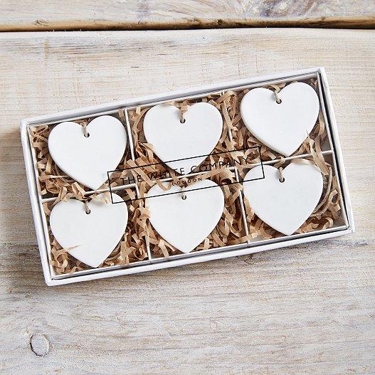 Porcelain Heart Decorations Set Of 6